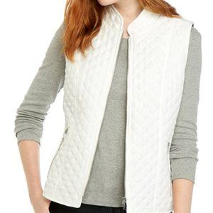 SP White Solid Zip Puffer Vest with Leopard Lining